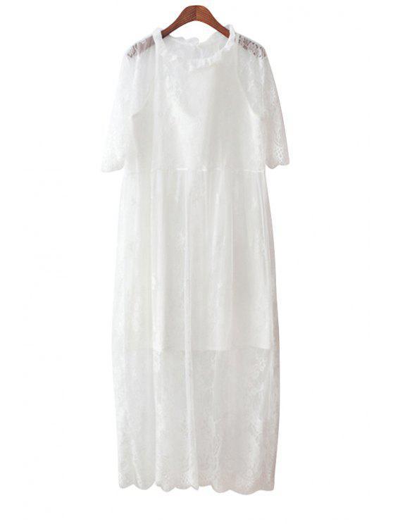 women Lace Dress and Spaghetti Straps Dress Twinset - WHITE S