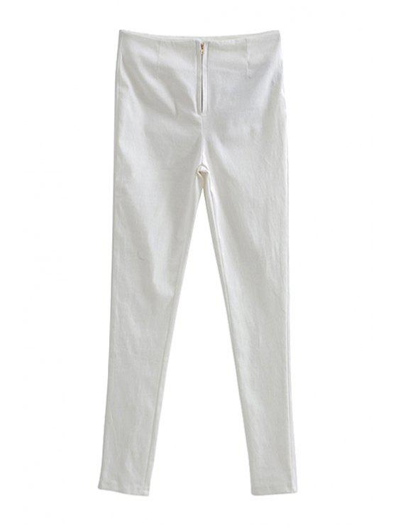 buy Solid Color Skinny Zipper Pants - WHITE S