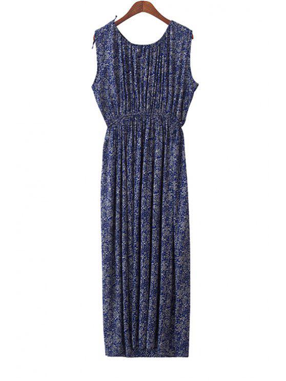 outfit Tiny Floral Print Sleeveless Maxi Dress - PURPLISH BLUE S