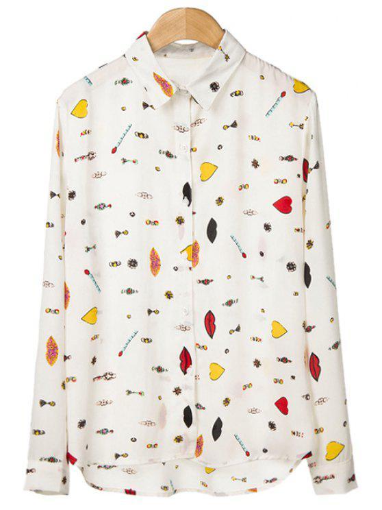 shops Heart Lip Print Long Sleeve Shirt - WHITE S