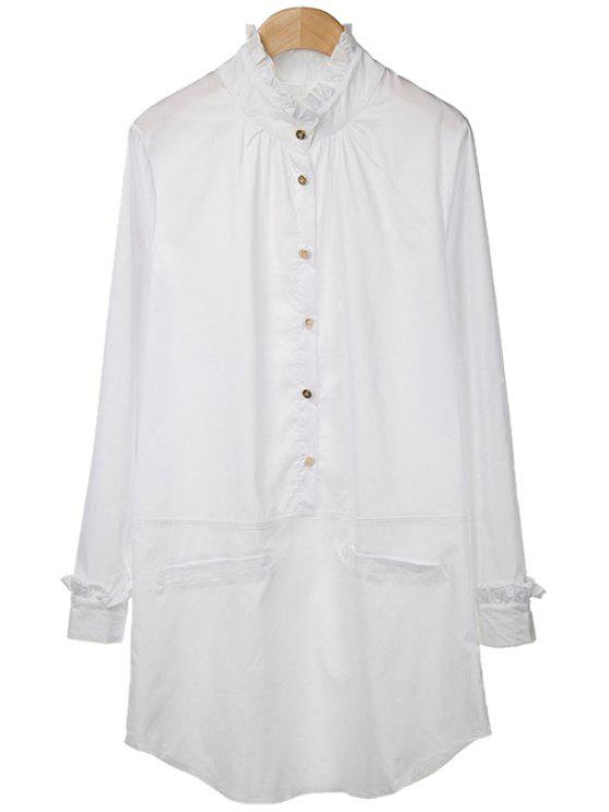 sale Ruff Collar Flounce Splicing Solid Color Shirt - WHITE M