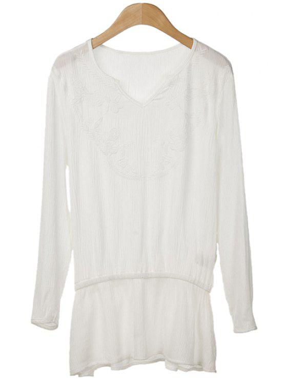 women V-Neck Solid Color Embroidery Splicing Shirt - WHITE S