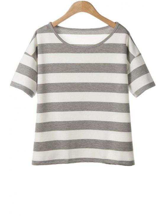 women's Jewel Neck Stripe Color Block T-Shirt - GRAY ONE SIZE(FIT SIZE XS TO M)