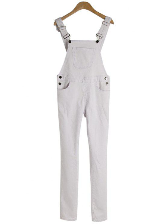 new Solid Color Pocket Overall - WHITE S