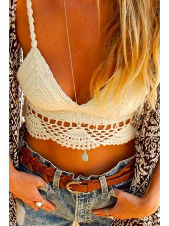 sale Openwork Solid Color Knitted Tank Top - WHITE ONE SIZE(FIT SIZE XS TO M)