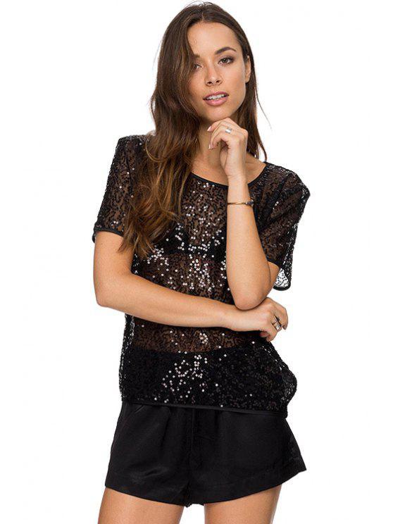shop See-Through Sequin Short Sleeve T-Shirt - BLACK XS