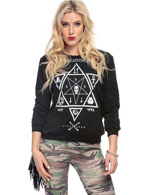 ladies Star Print Long Sleeve Sweatshirt - BLACK XS