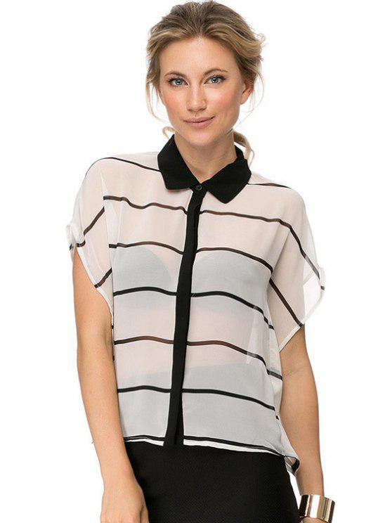 affordable Stripe See-Through Short Sleeve Shirt - STRIPE XS