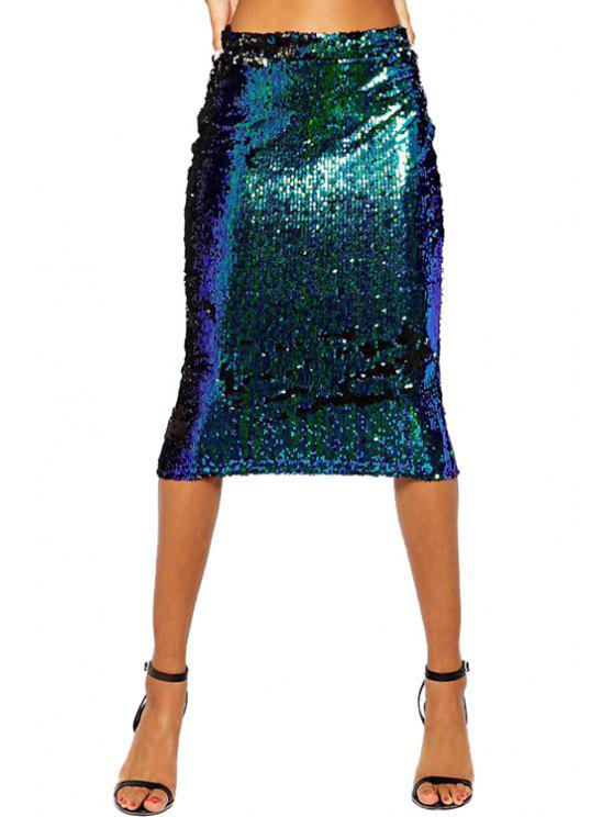 shop Sequin Wrapped Skirt - BLUE S