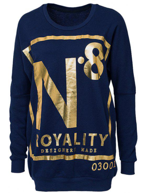 trendy Gold Letter Print Long Sleeve Sweatshirt - BLUE XS