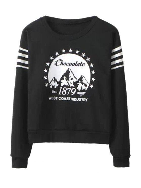 best Stripe Letter Print Long Sleeve Sweatshirt - BLACK XS