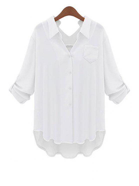 sale Solid Color Shirt Neck Blouse - WHITE XL