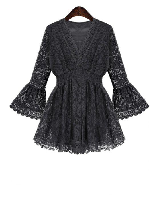 fashion Lace Flare Sleeve Blouse - BLACK S