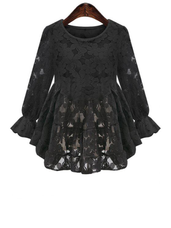 fashion Lace Nine-Minute Sleeve Blouse - BLACK XL