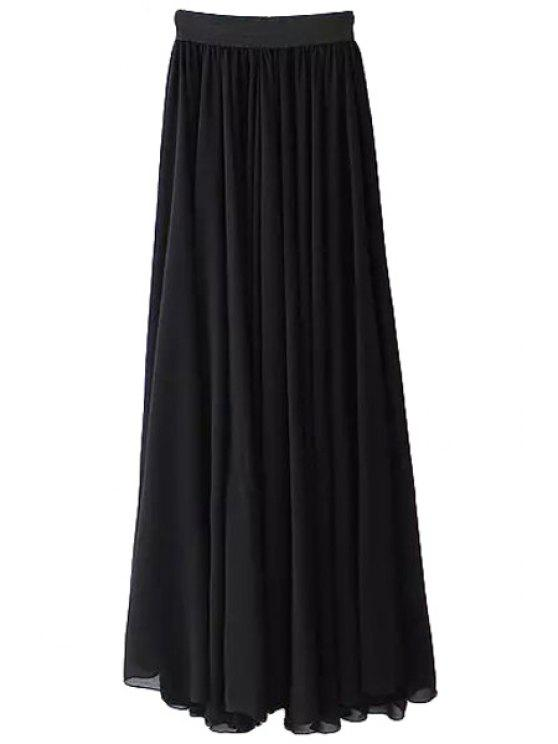 affordable Solid Color Elastic Waist Pleated Long Skirt - BLACK S