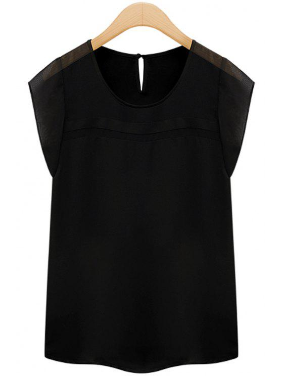 sale Solid Color Short Sleeve Chiffon T-Shirt - BLACK XL