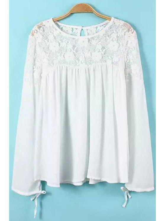 women's Lace Splicing Tie-Up Ruffle Shirt - WHITE S
