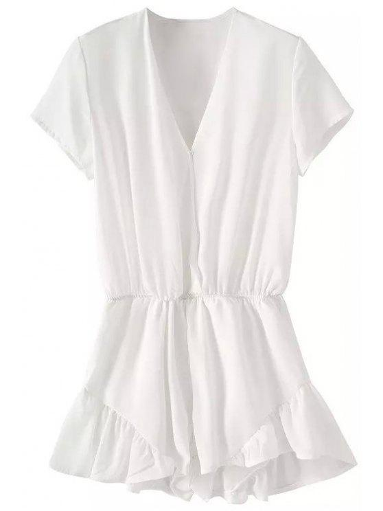 latest Solid Color Flounce Splicing Ruffle Romper - WHITE S