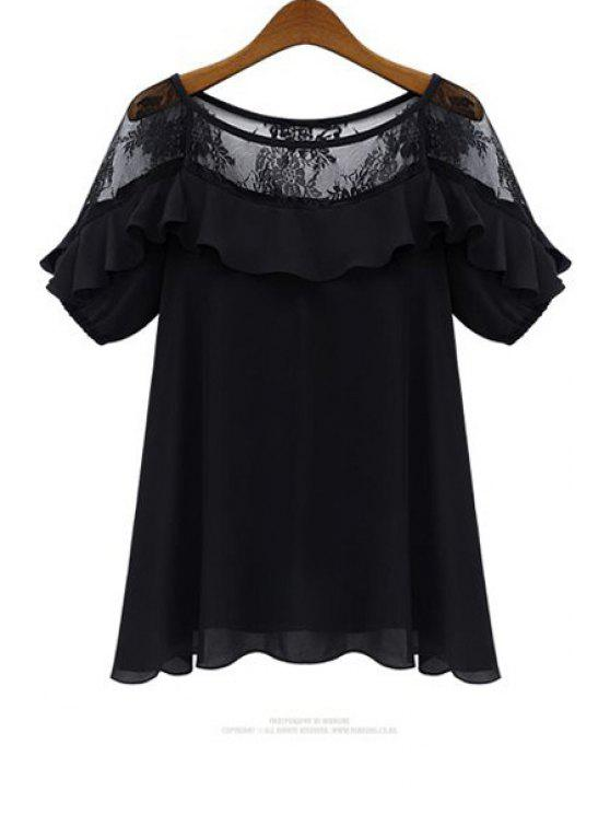 chic Lace Ruffles Spliced Black Blouse - BLACK 2XL