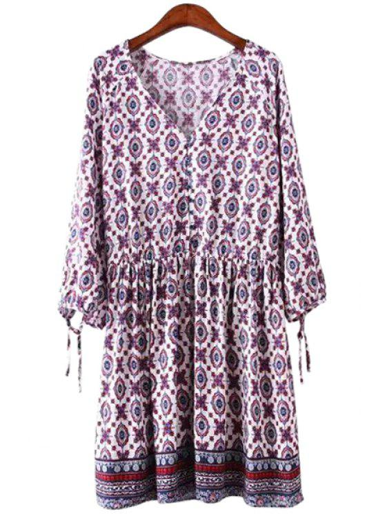 outfit Print Ruffle Tie-Up Long Sleeve Dress - PURPLE S