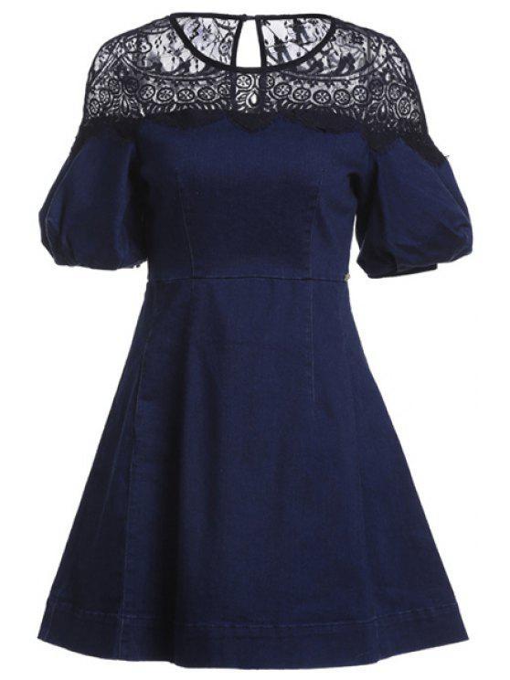 new Lace Spliced Half Sleeve Denim Dress - DEEP BLUE S