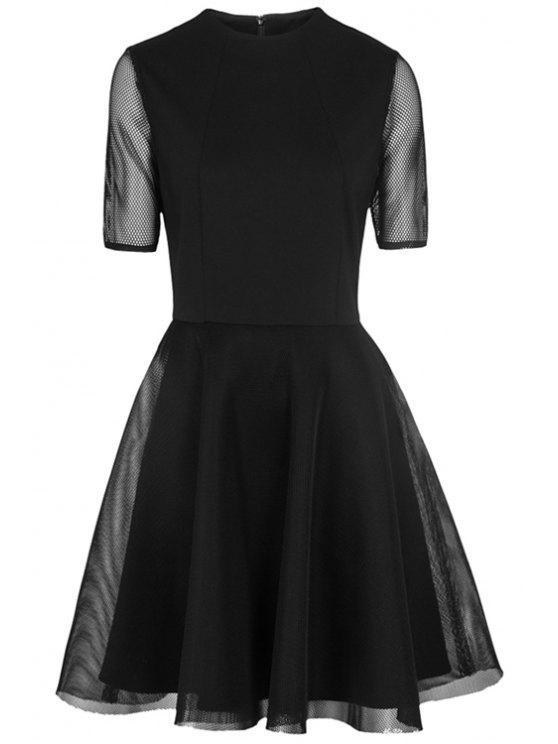 latest Hollow Spliced A-Line Dress - BLACK S