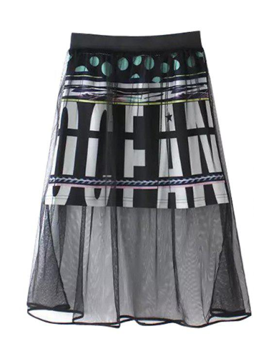 outfit Letter Print Voile Splicing Skirt - BLACK ONE SIZE(FIT SIZE XS TO M)