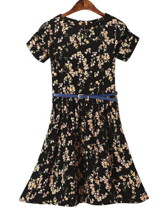 outfits Belt Tiny Floral Print Dress - BLACK S