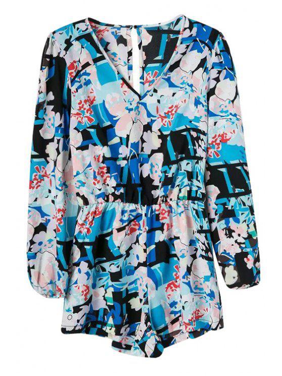 online V-Neck Floral Print Long Sleeve Romper - BLUE S