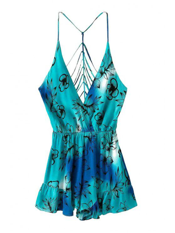 fashion Floral Print Openwork Backless Romper - BLUE S