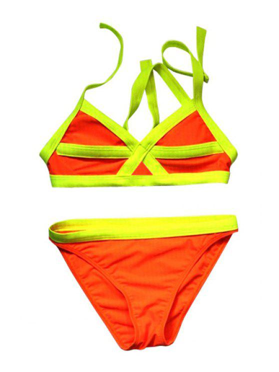 lady Color Block Divided Type Swimwear - YELLOW L