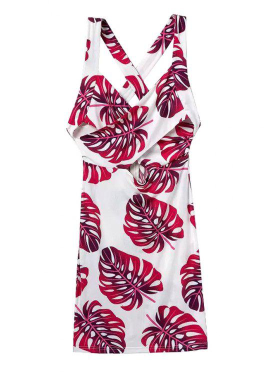 shop Leaves Print Openwork Sleeveless Dress - RED WITH WHITE S