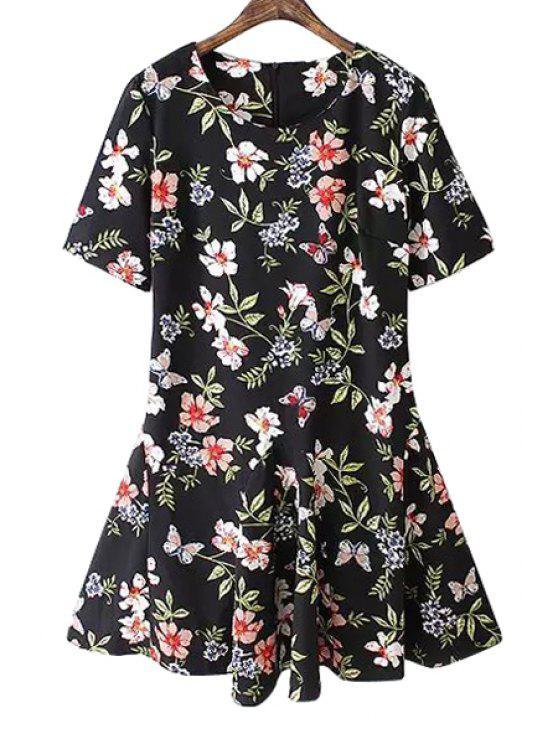 trendy Butterfly Floral Print Short Sleeve Dress - BLACK S