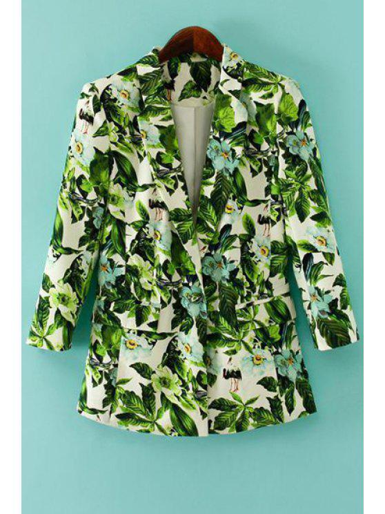 women Green Leaves Print Long Sleeve Blazer - GREEN M