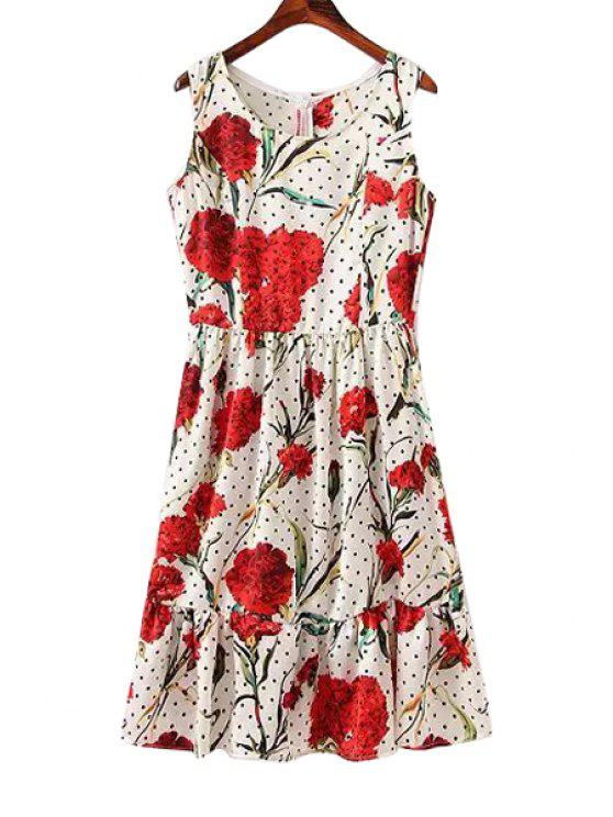 fancy Floral Print Polka Dot Sleeveless Dress - WHITE S