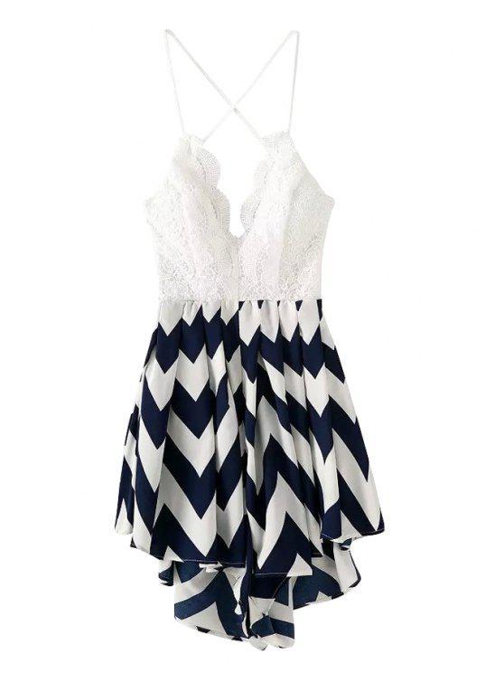 outfits Lace Stripe Asymmetrical Sleeveless Romper - BLUE XL