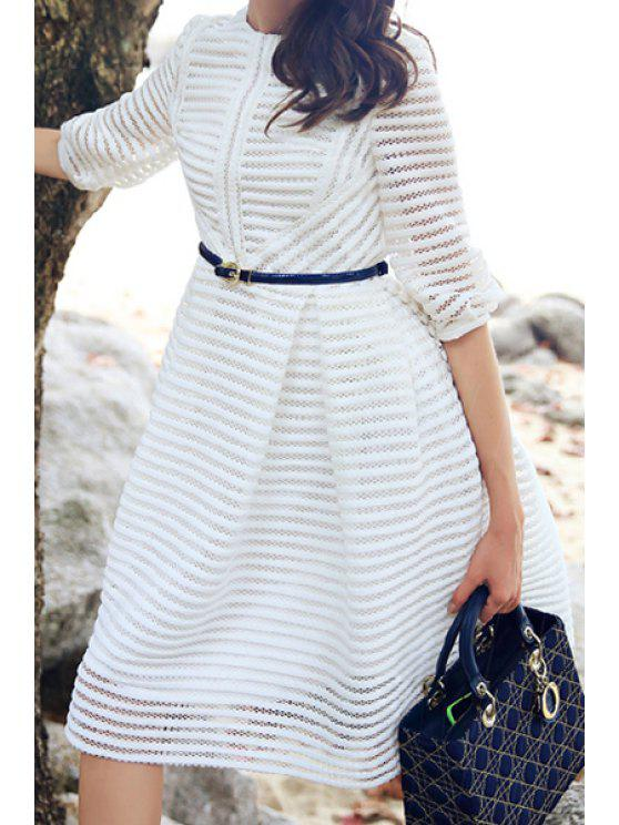 fancy Striped Hollow Half Sleeve Dress - WHITE S