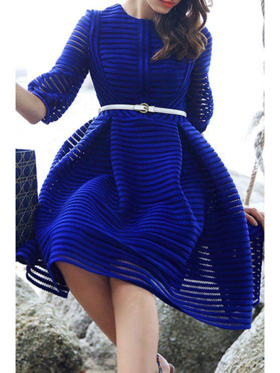 online Striped Hollow Half Sleeve Blue Dress - BLUE S