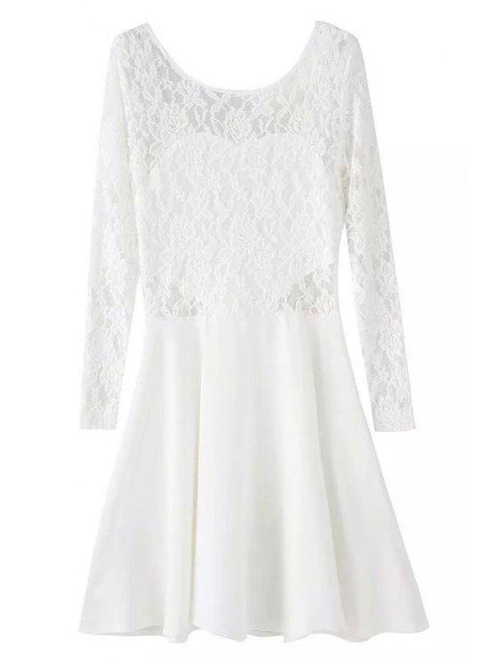 lady Lace Splicing Backless Bowknot Dress - WHITE L