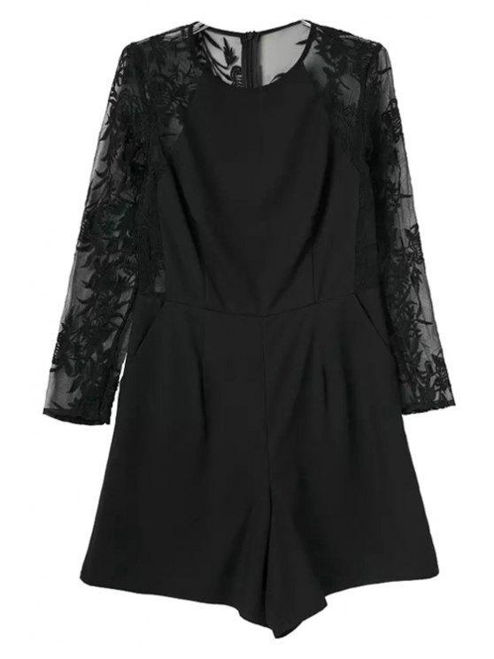shops Back Lace Splicing Long Sleeve Romper - BLACK S