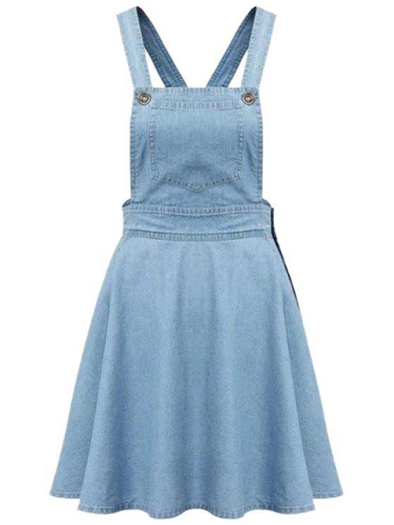 fashion Pocket A-Line Denim Skirt - LIGHT BLUE S