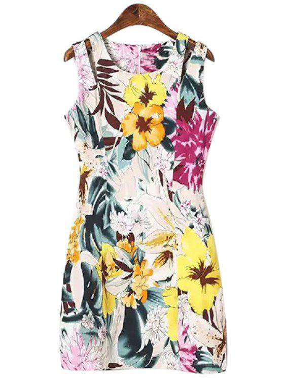 best Yellow Floral Print Sleeveless Dress - COLORMIX S
