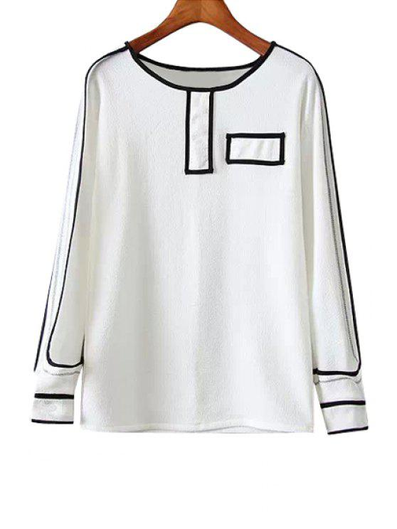 best Black Stripe Long Sleeve Shirt - WHITE S