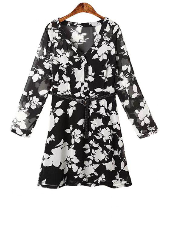 shops White Floral Print Belt Long Sleeve Dress - BLACK M
