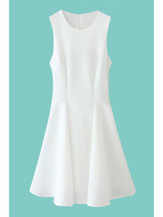 ladies Solid Color Ruffle Sleeveless Dress - WHITE S