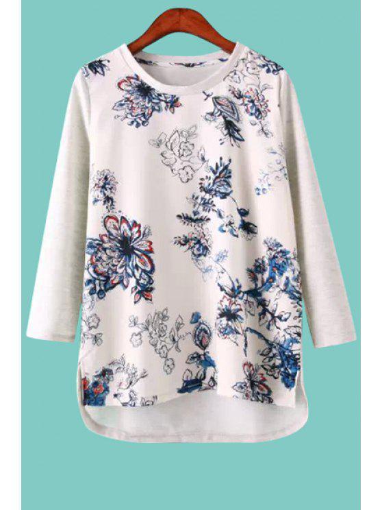 online Floral Print Asymmetrical Slit T-Shirt - WHITE S
