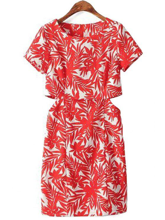 trendy Red Leaves Openwork Short Sleeve Dress - RED S
