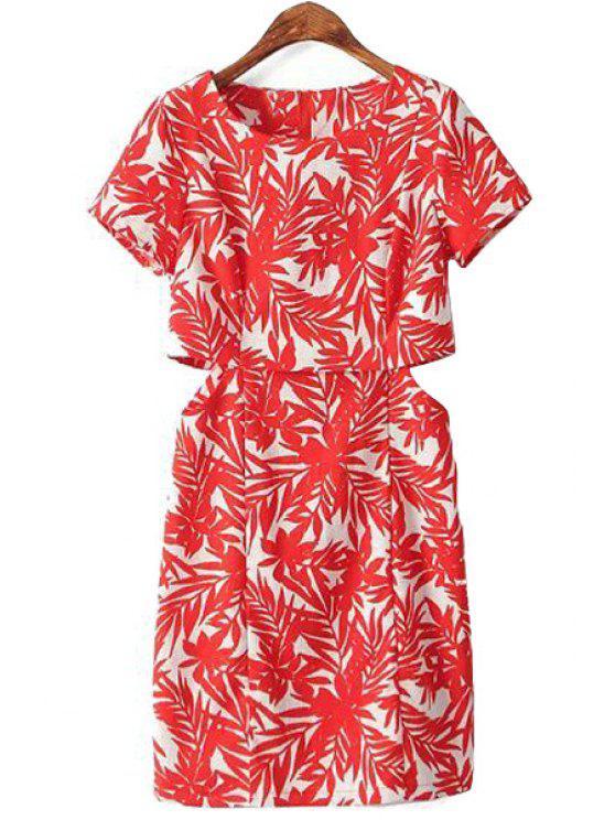 trendy Red Leaves Openwork Short Sleeve Dress - RED S