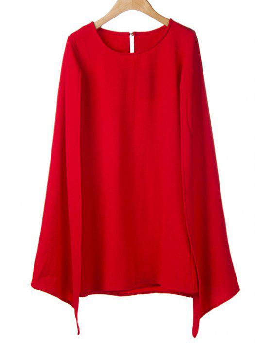shops Solid Color Cape-Style Dress - RED L