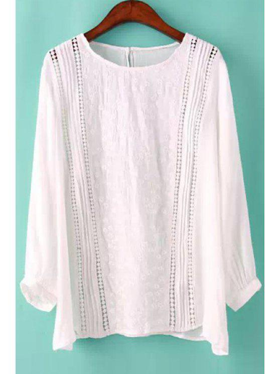 hot Openwork Solid Color Long Sleeve Shirt - WHITE S